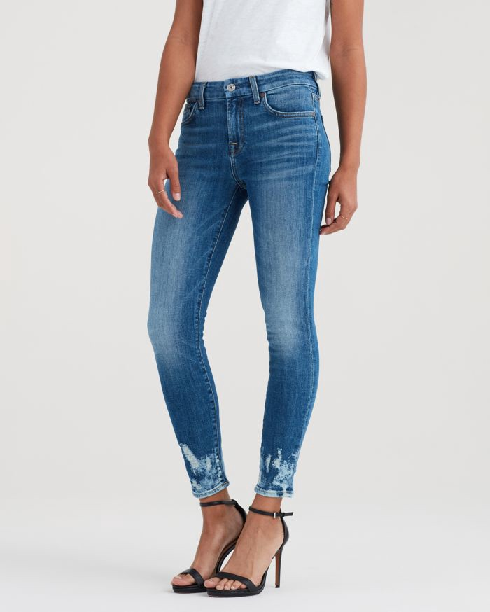 9987238591b03 7 For All Mankind Ankle Skinny With Bleach And Holes At Hem In Desert Oasis  - 28