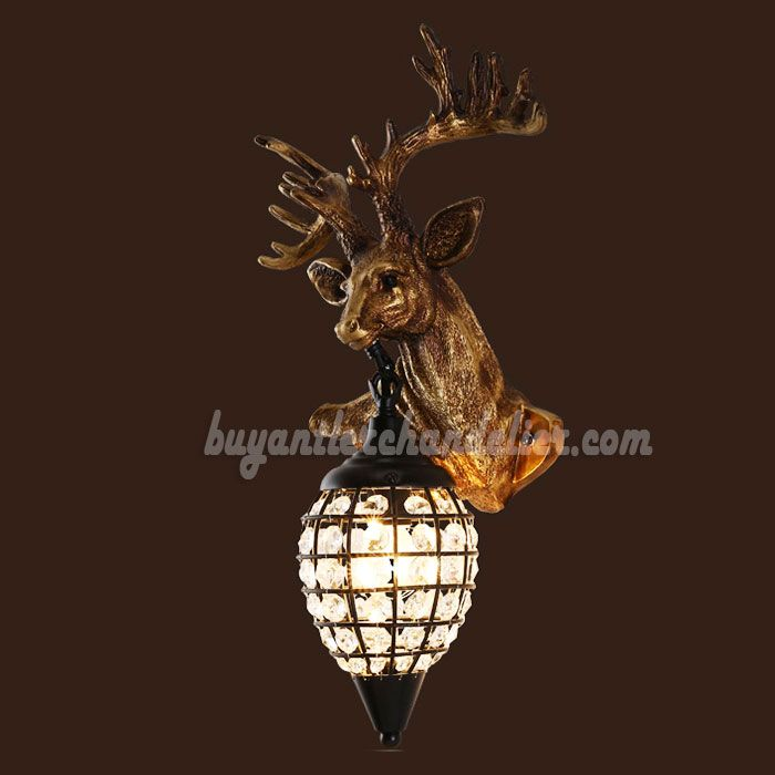 Reindeer Head Antler Wall Sconces Crystal Lamps Hanging
