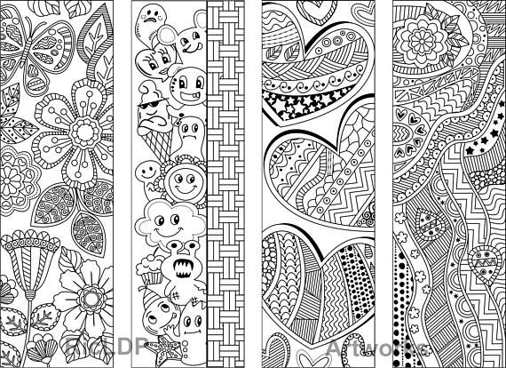 Set Of 8 Coloring Bookmarks With Abstract Patterns Etsy Coloring Bookmarks Pattern Coloring Pages Coloring Pages