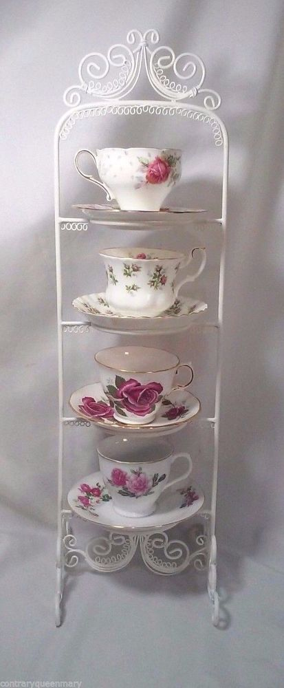 WIRE HANGING TEACUP AND SAUCER STANDS WHITE NEW