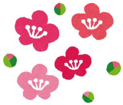梅の花とつぼみのイラスト デフォルメされたかわいいデザイン 花 イラスト 梅の花 イラスト 年賀状 デザイン