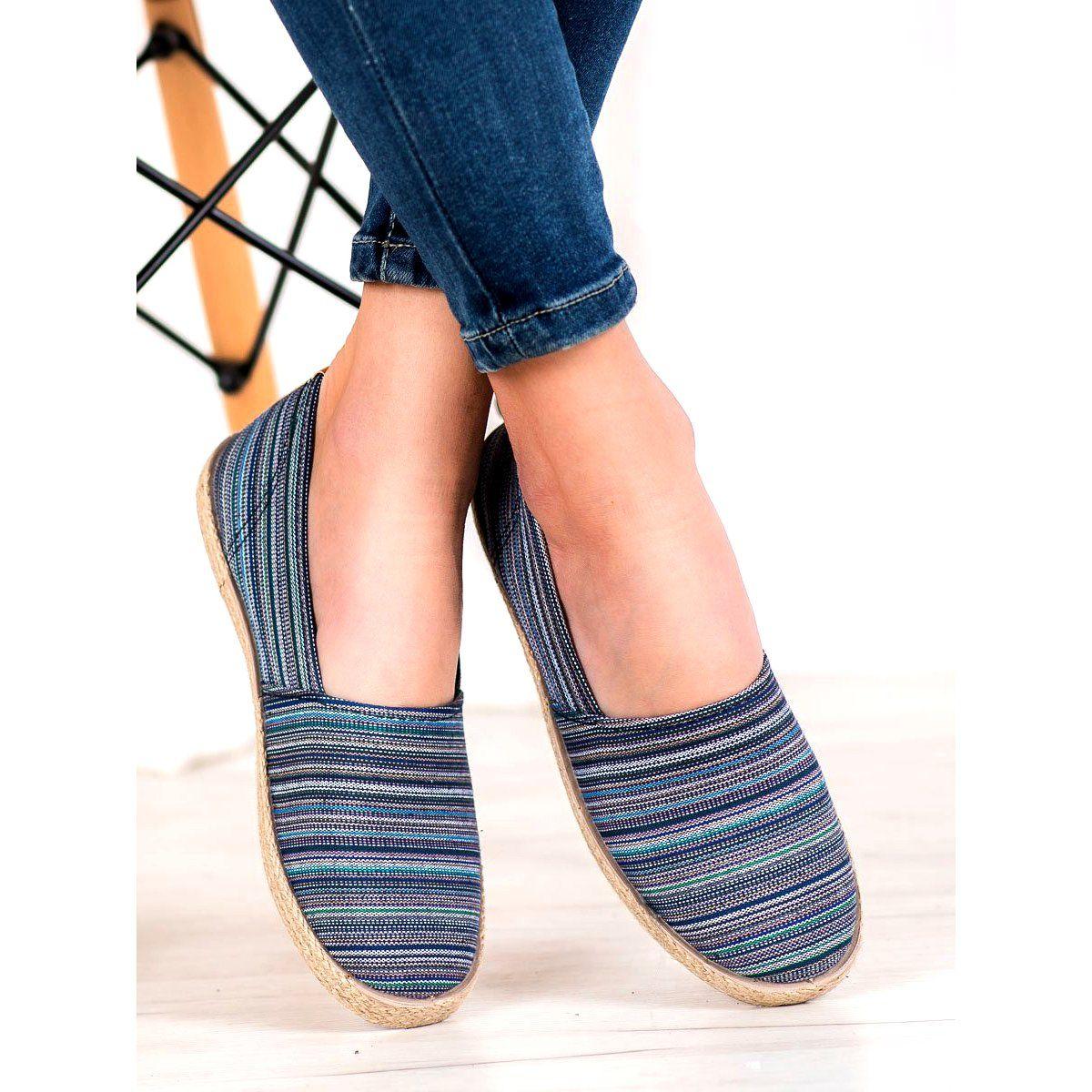 Mckey Espadryle W Paski Brazowe Granatowe Niebieskie Zielone Flat Espadrille Espadrilles Shoes