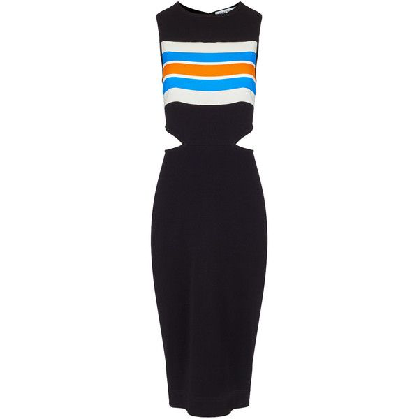 Tanya Taylor Black Stripe Connor Dress (3.580 CZK) ❤ liked on Polyvore featuring dresses, cutout dresses, cut out bodycon dress, multi color bodycon dress, multi colored bodycon dress and bodycon dress