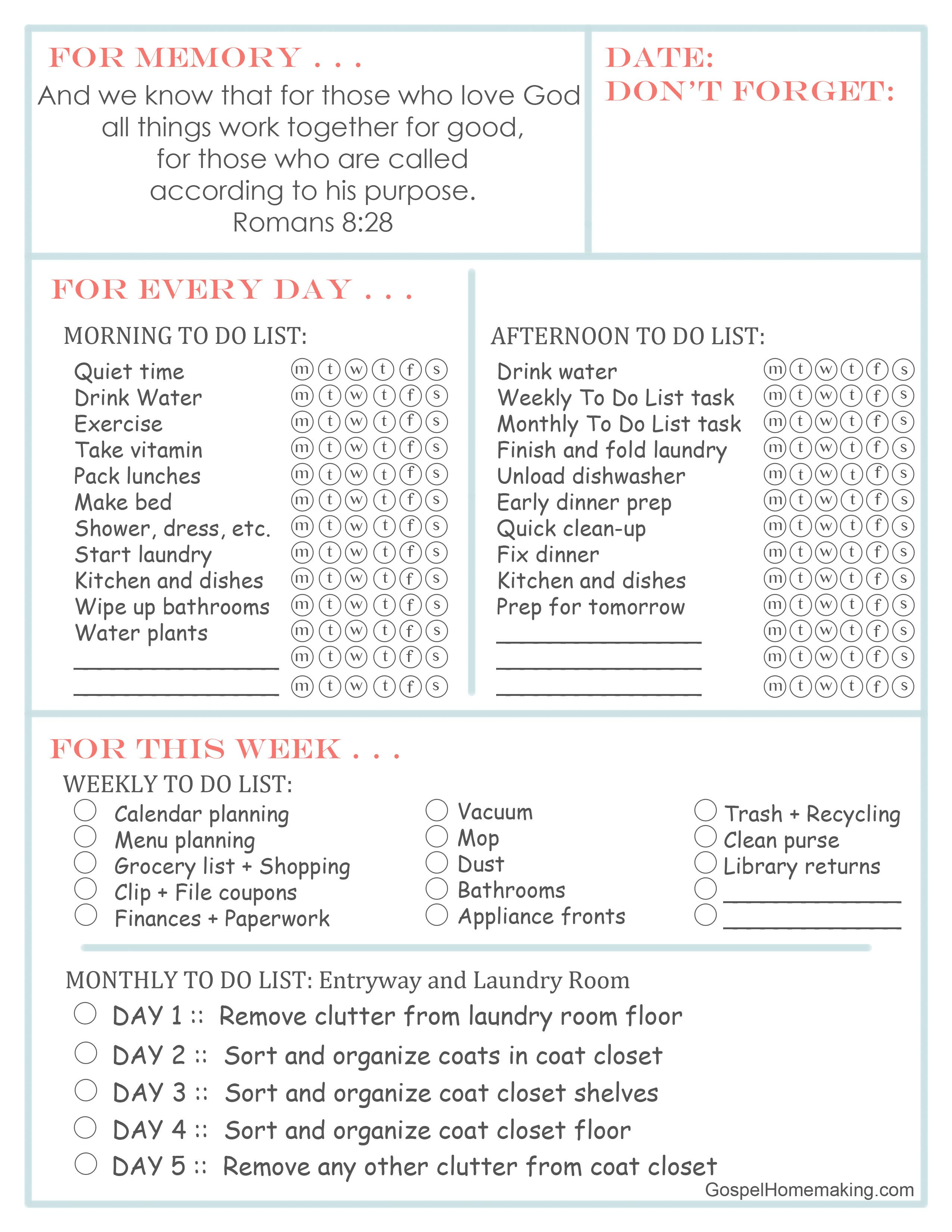 Printable Daily To Do List Weekly Plan Week 20