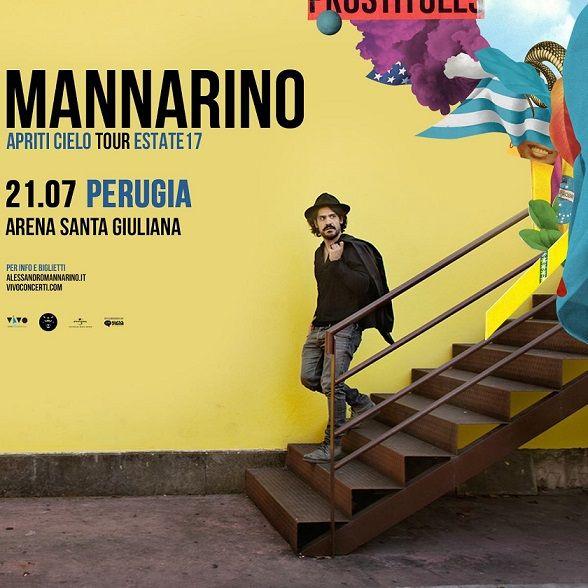 Sarà l'Arena Santa Giuliana di Perugia ad ospitare il prossimo 21 luglio la tappa umbra di Apriti Cielo Tour di Alessandro Mannarino, live promosso dall'associazione Umbra della Canzone e della Musica d'Autore nell'ambito della seconda parte della stagione Umbria Eventi d'Autore.