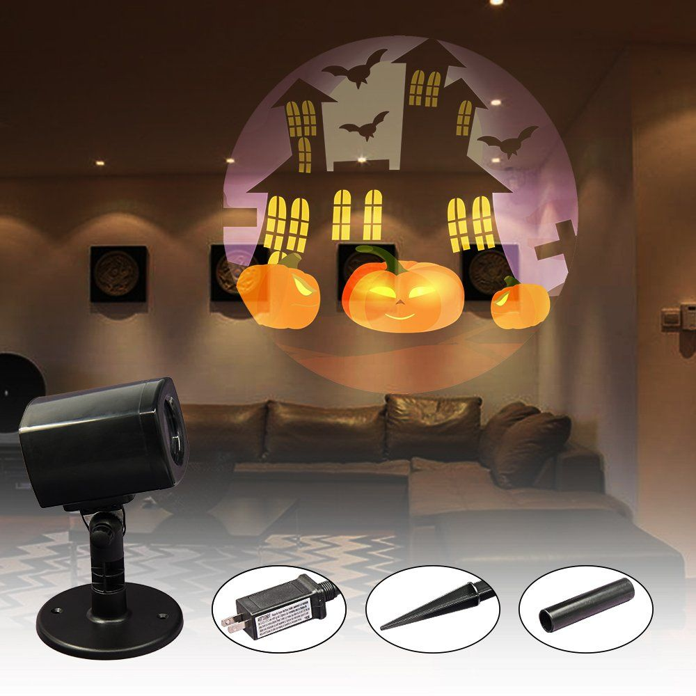 Halloween Lightshow Dynamic Bat And Castle Projector Light Led Party Projection Lamp Waterpr Halloween Haunted House Decorations Lamp Haunted House Decorations
