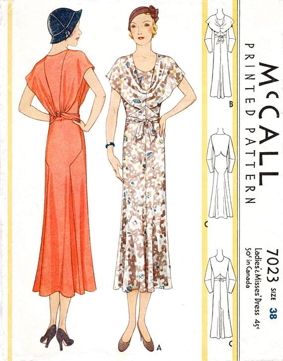 1930s 30s dress in 3 styles // vintage sewing pattern reproduction ...