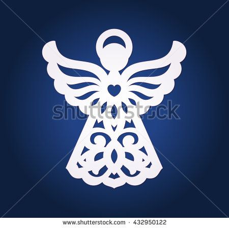 Laser cut paper christmas angel decoration vector design for Angel tree decoration template