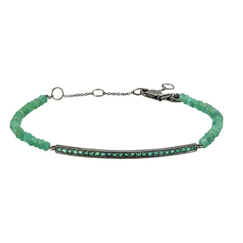 Emerald Bar Bracelet with Emerald Beads