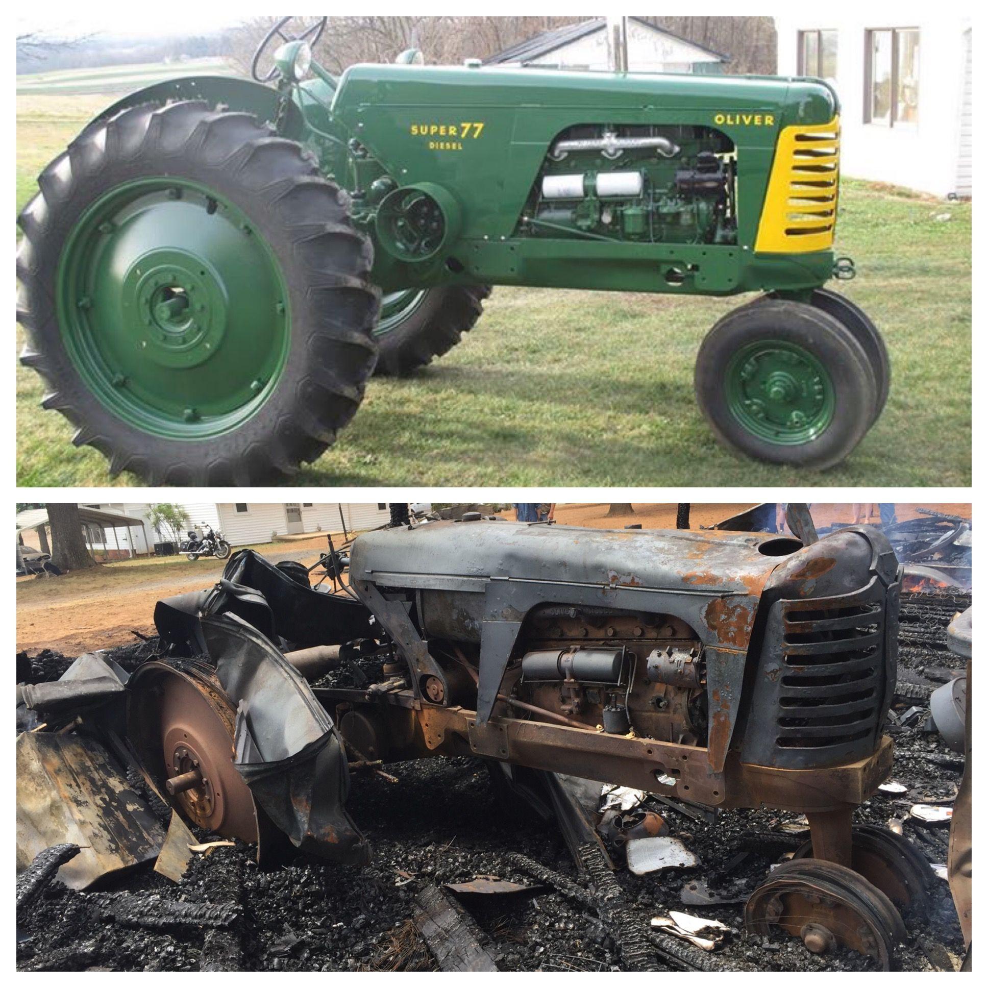 1955 Oliver Super 77 Diesel Tractor Fire Restoration