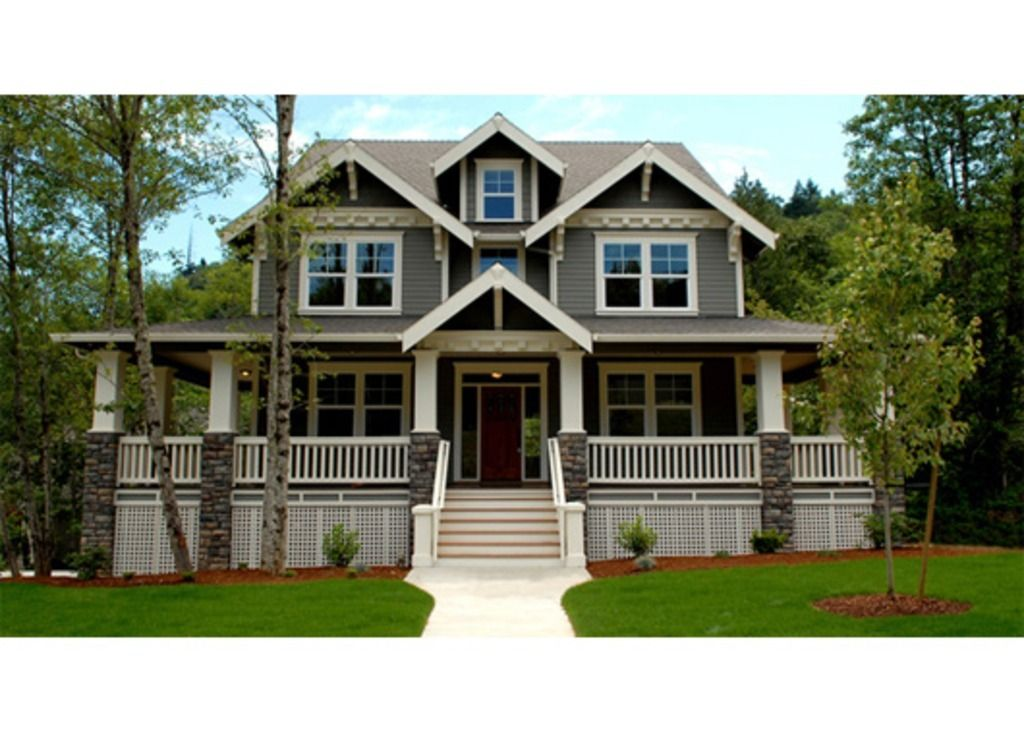 Craftsman Front Elevation Plan Houseplanscom Front - Craftsman style homes with front porches pictures
