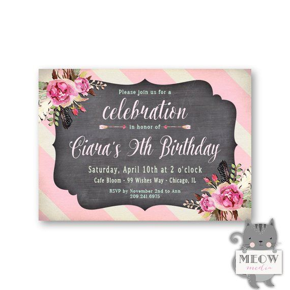 9th Birthday Invitation Girls Floral Kids Party Invite Pink