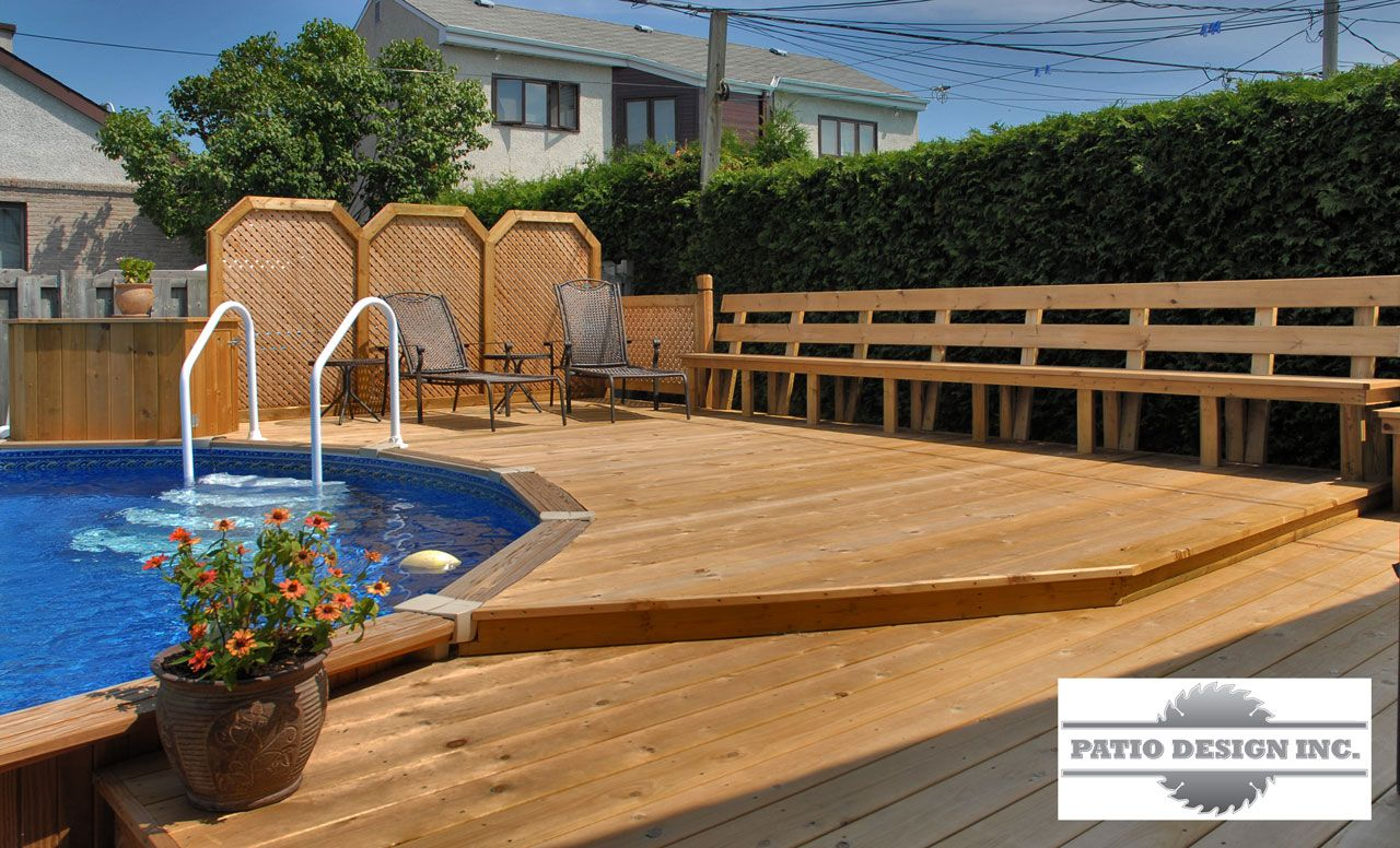 Patio avec piscine hors terre decks pinterest patios for Construction piscine creusee