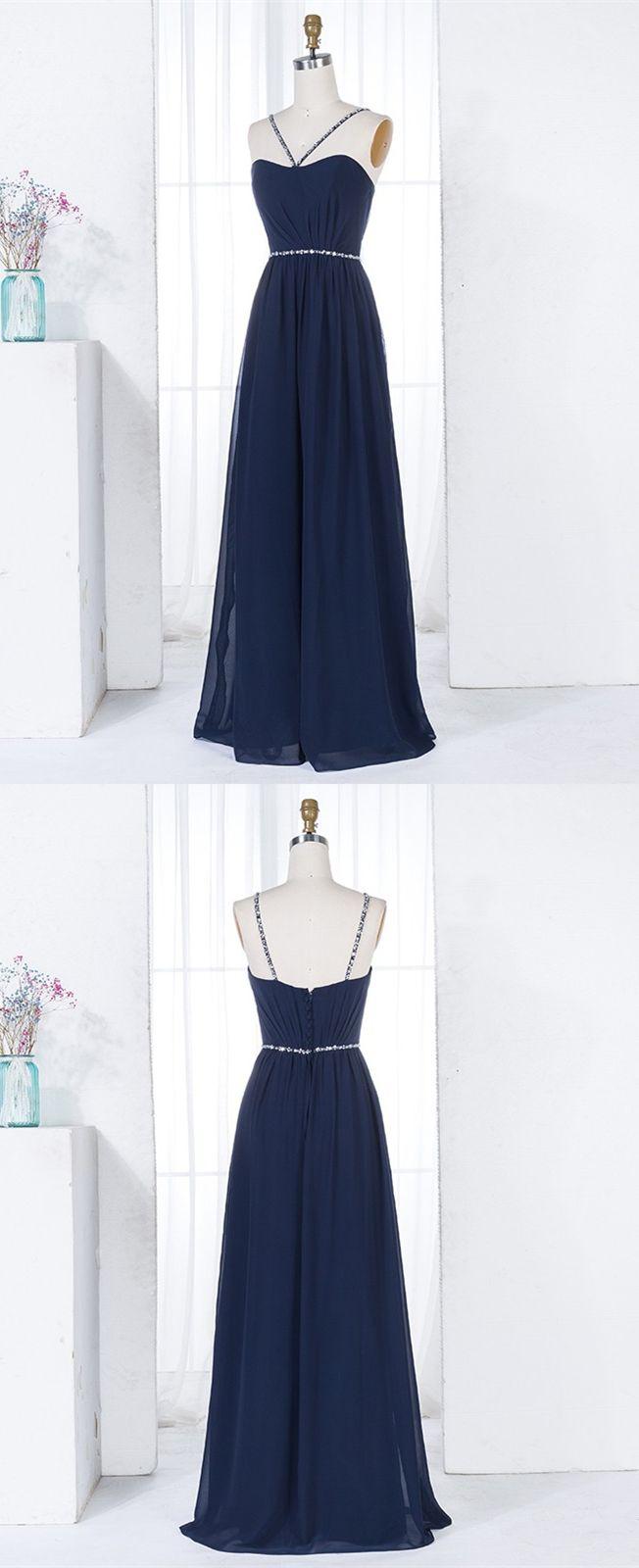 Aline vneck navy blue chiffon long bridesmaid dress with beading