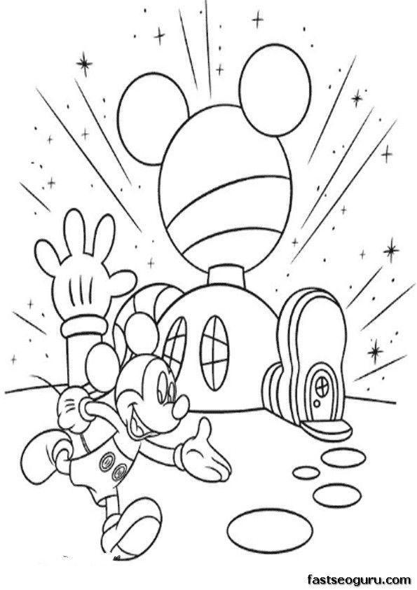 Cartoon Printable Mickey Mouse Clubhouse Coloring Pages Coloring Mickey Mouse House