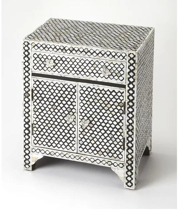 Mother Of Pearls Two Door One Drawer Black White Bedside
