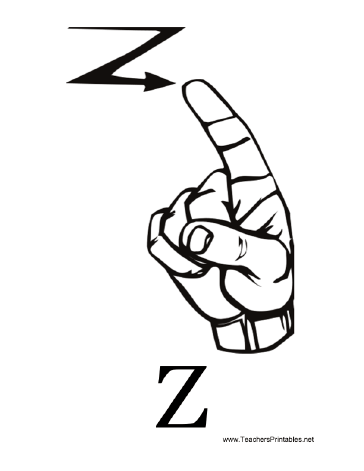 Diagram Of A Hand Signing The Letter Z Along With The Printed