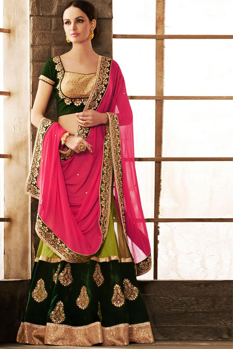 Velvet saree images parrot green green and pink chiffon net and velvet saree with