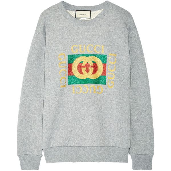 fb63d6e24 Gucci Oversized appliquéd printed cotton-terry sweatshirt ($1,040) ❤ liked  on Polyvore featuring tops, hoodies, sweatshirts, gucci, jumper, gray  sweatshirt ...