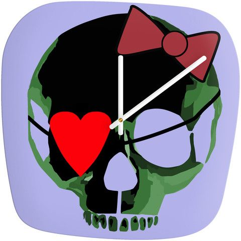 Amy Smith Green Skull with Bow Modern Clock