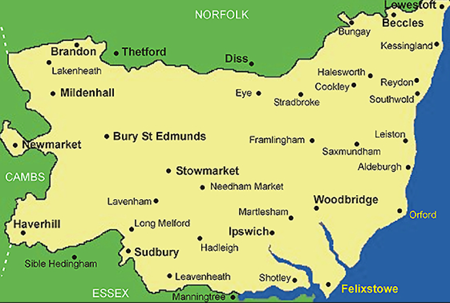 Map Of Suffolk Suffolk map | England~The East | Suffolk map, Suffolk england, Norfolk Map Of Suffolk