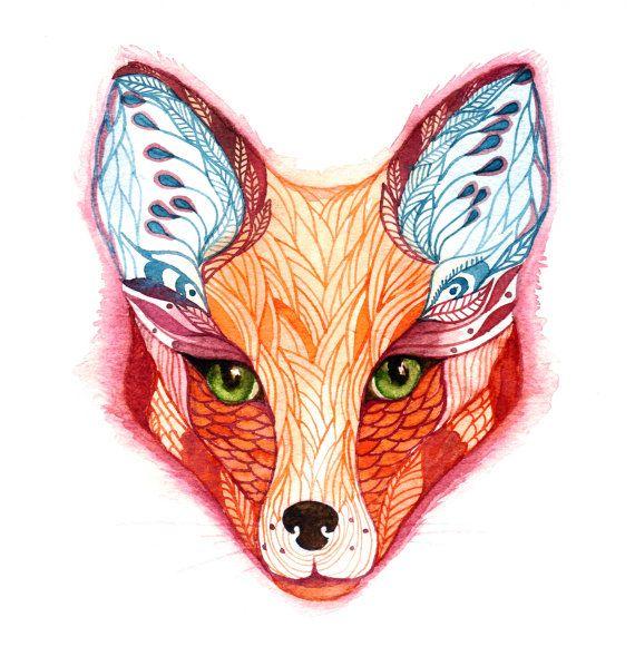 Sticker Red Fox face animal sticker 100 waterproof by TevaKiwi