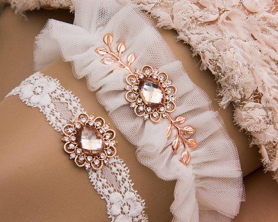 Rose Gold Bridal Garter Set Rose Gold Garters for wedding Garter Belts wedding garter blue Wedding garters Rose Gold Garter Belt