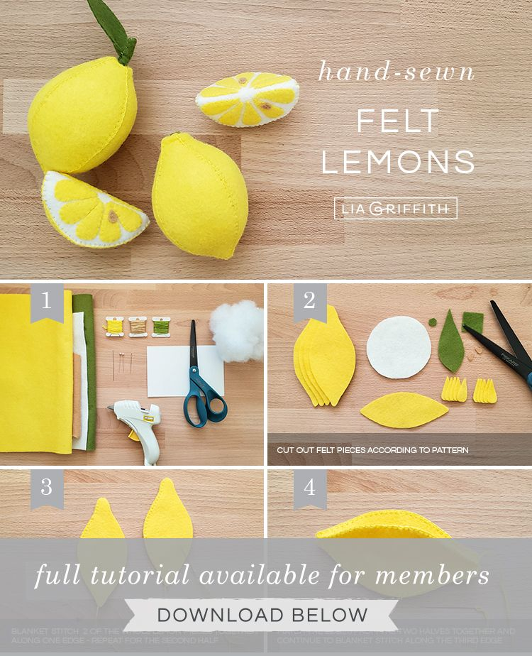 The Cutest Felt Lemons & Lemon Slices - Lia Griffith
