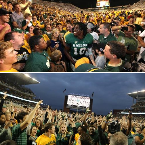 At the Class of 2015's first #Baylor game, Baylor upset TCU and RG3's Heisman run began. For their last game, Baylor defends its Big 12 title. #SicEm