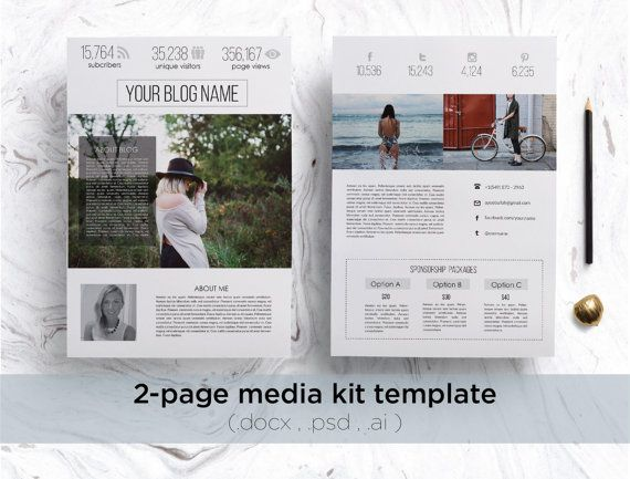 Professional media kit modern blog press kit 2 page for Press kit design