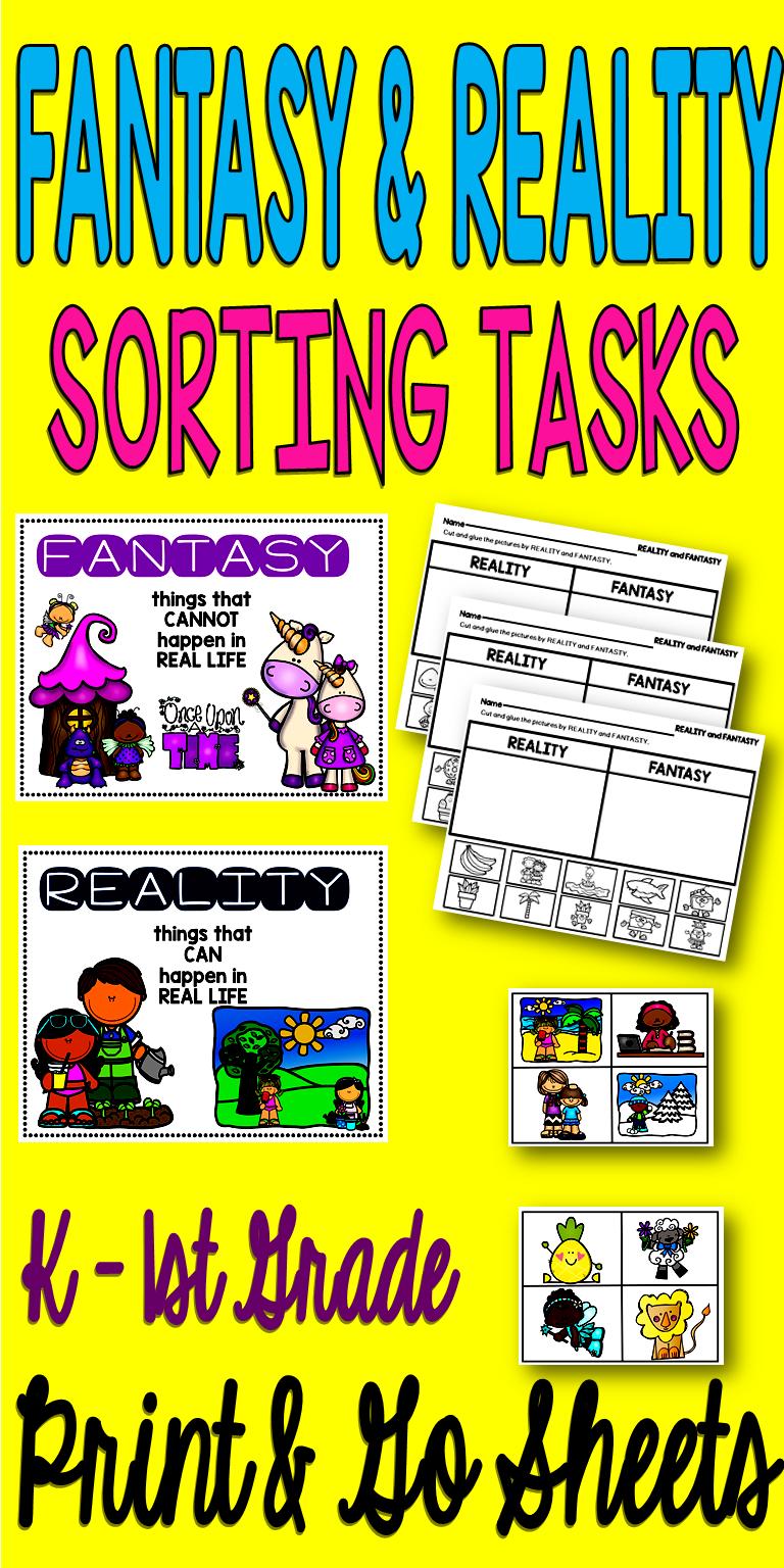 Fantasy and Reality Worksheets and Activities   Kindergarten reading  activities [ 1536 x 768 Pixel ]