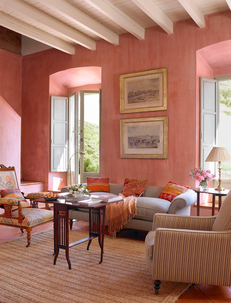 Coral Painted Rooms These Walls Have Been Painted In Rose Salmon Tones With A Lime