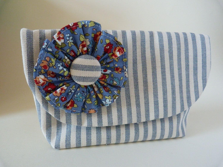 Denim Blue Stripe Clutch Purse with Rosette. $40.40, via Etsy.