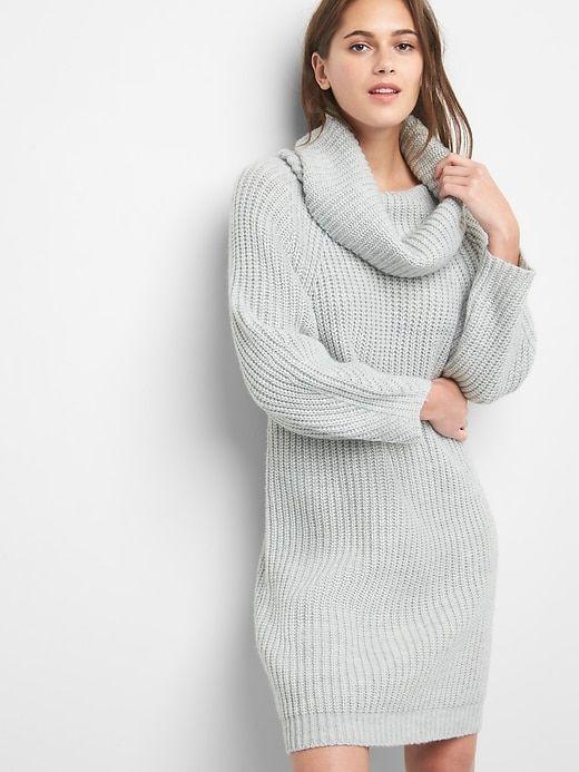 5aa9a9dd91 Gap Womens Cozy Knit Cowlneck Dress Heather Grey