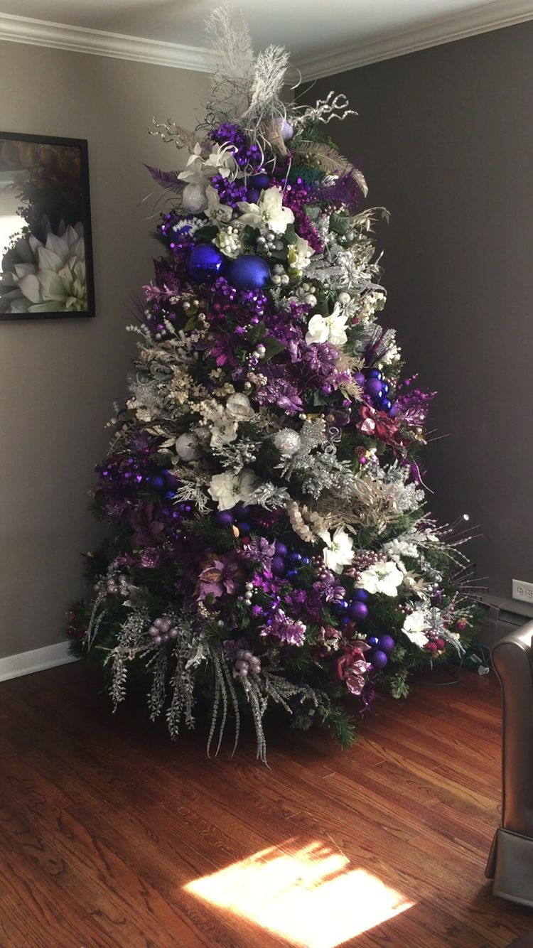christmas tree purple and silver purple christmas tree - Purple Christmas Decorations Ideas