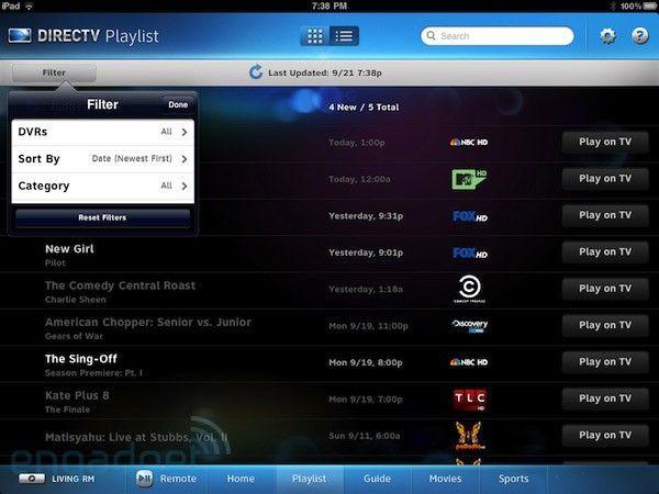 DIRECTV App DVR iPad Directv, App, Filters