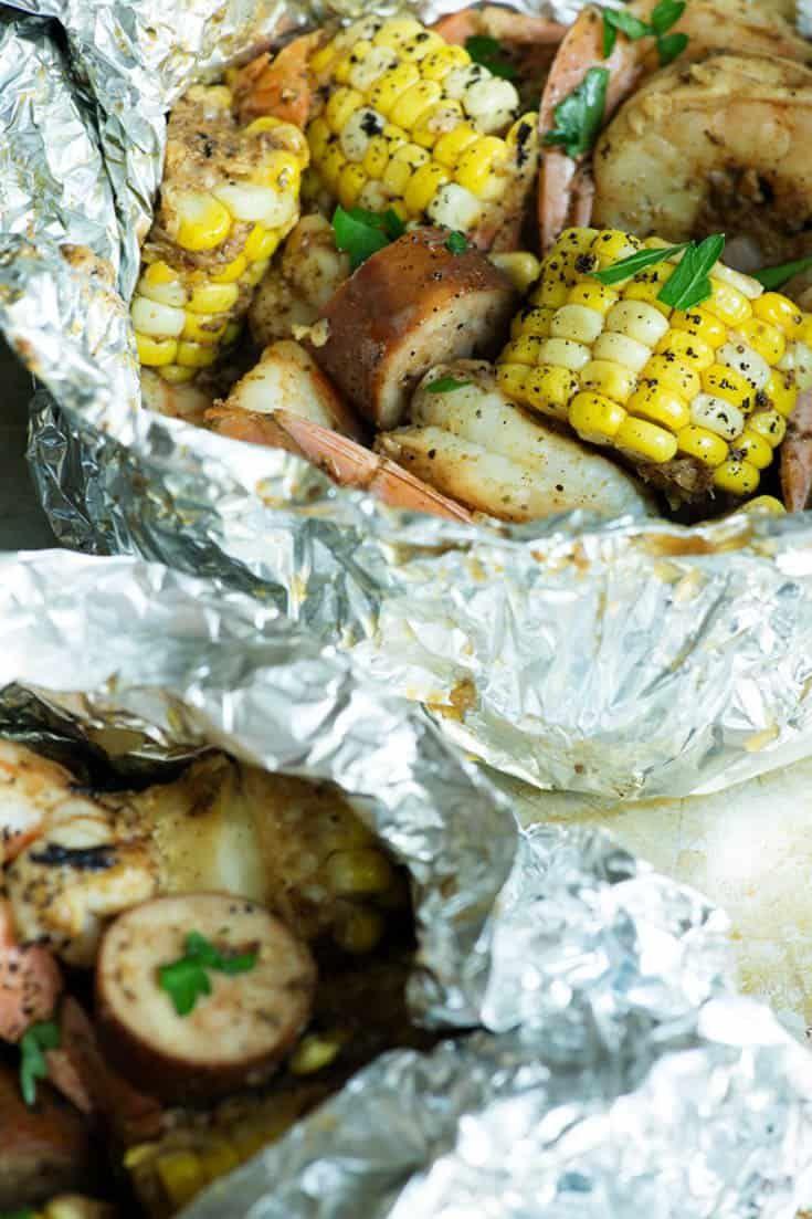 Grilled shrimp boil packs with old bay butter baggage