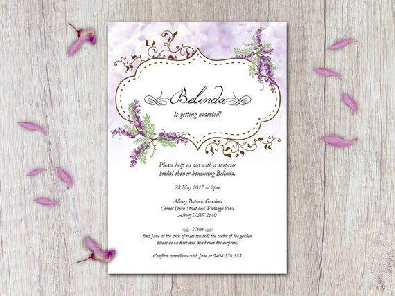 secret garden wisteria surprise bridal shower invitation