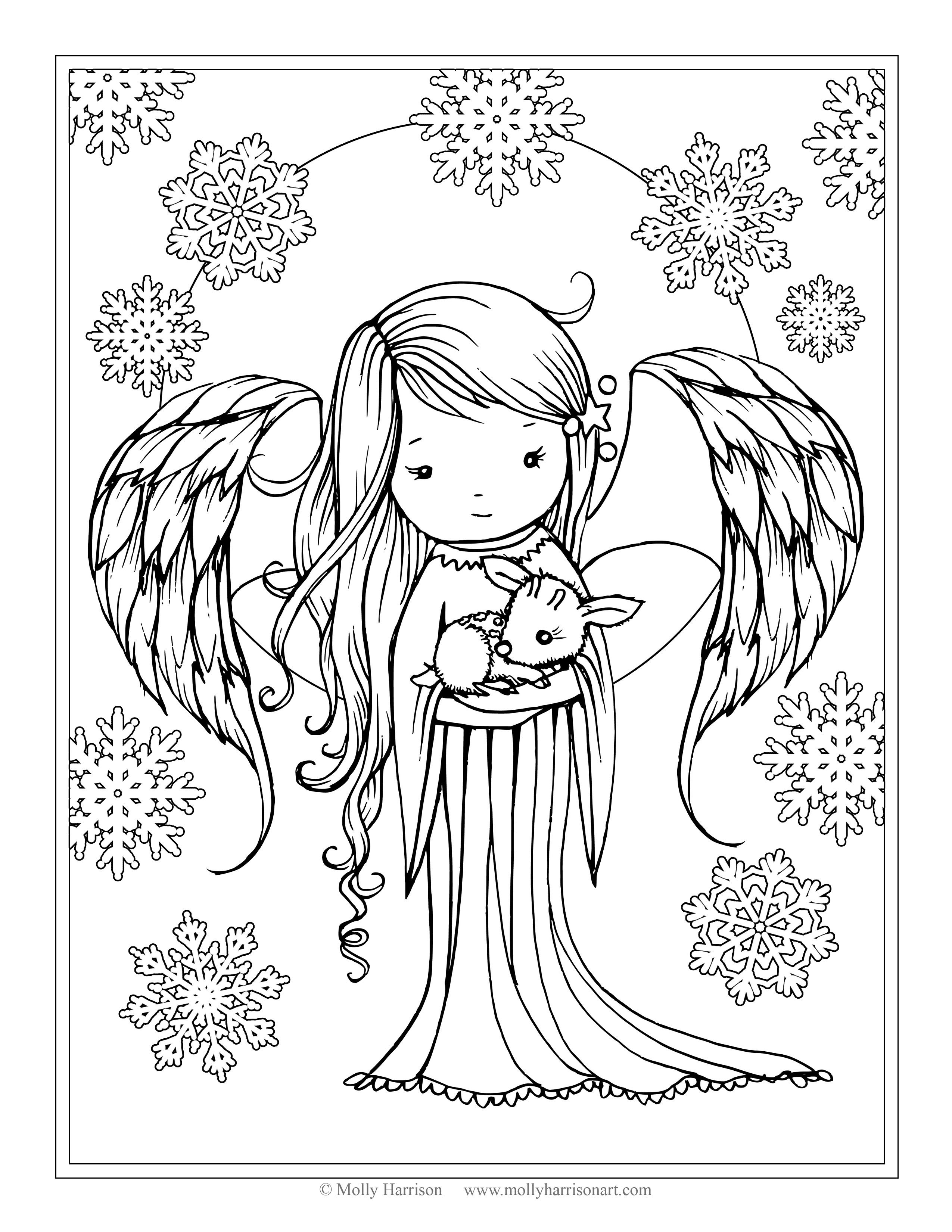 """Angel holding Fawn from the book """"Whimsical Winter"""
