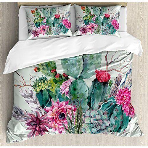 arightex cactus bedding cactus duvet cover summer plant bed set nature duvet cover set bright dorm bedding queen - Cactus Bedding