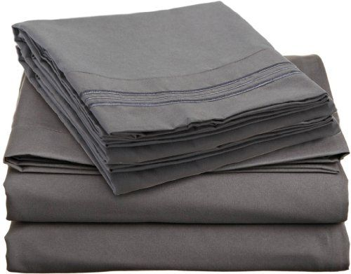 Anili Mili 1800 Collection Bed Sheet Set With Bonus Pillowcases, Queen,  Charcoal Gray