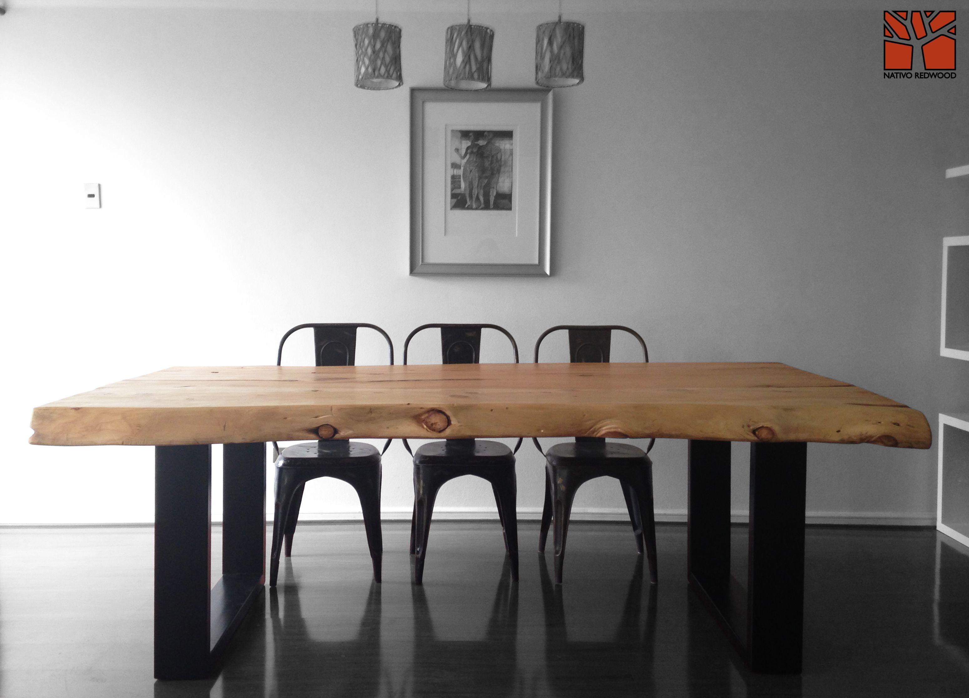 Nativo redwood mesa comedor con cubierta de madera de cipres con base de fierro - Casa base milano ...