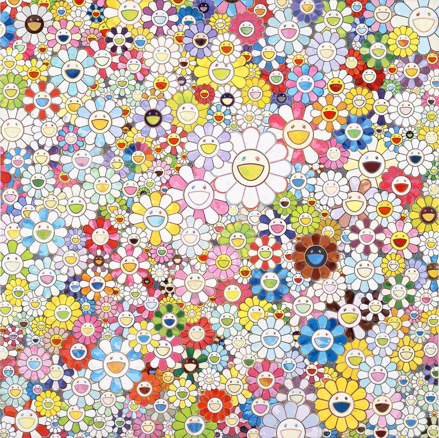 TAKASHI MURAKAMI    When I Close My Eyes, I See Shangri-la, 2012    Acrylic on canvas mounted on board    78 3/4 x 78 3/4 inches  (200 x 200 cm)    © Takashi Murakami/Kaikai Kiki Co., Ltd. All Rights Reserved.