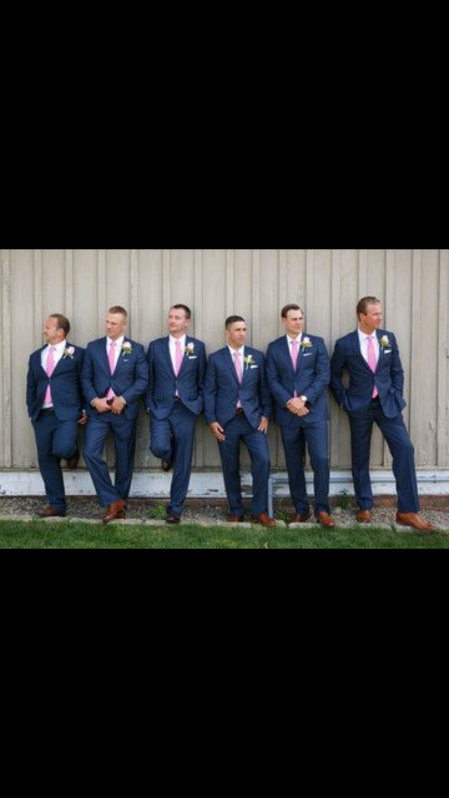 0b698e0a774d7 Navy suits with pink ties, white shirts, brown shoes | Janie's ...