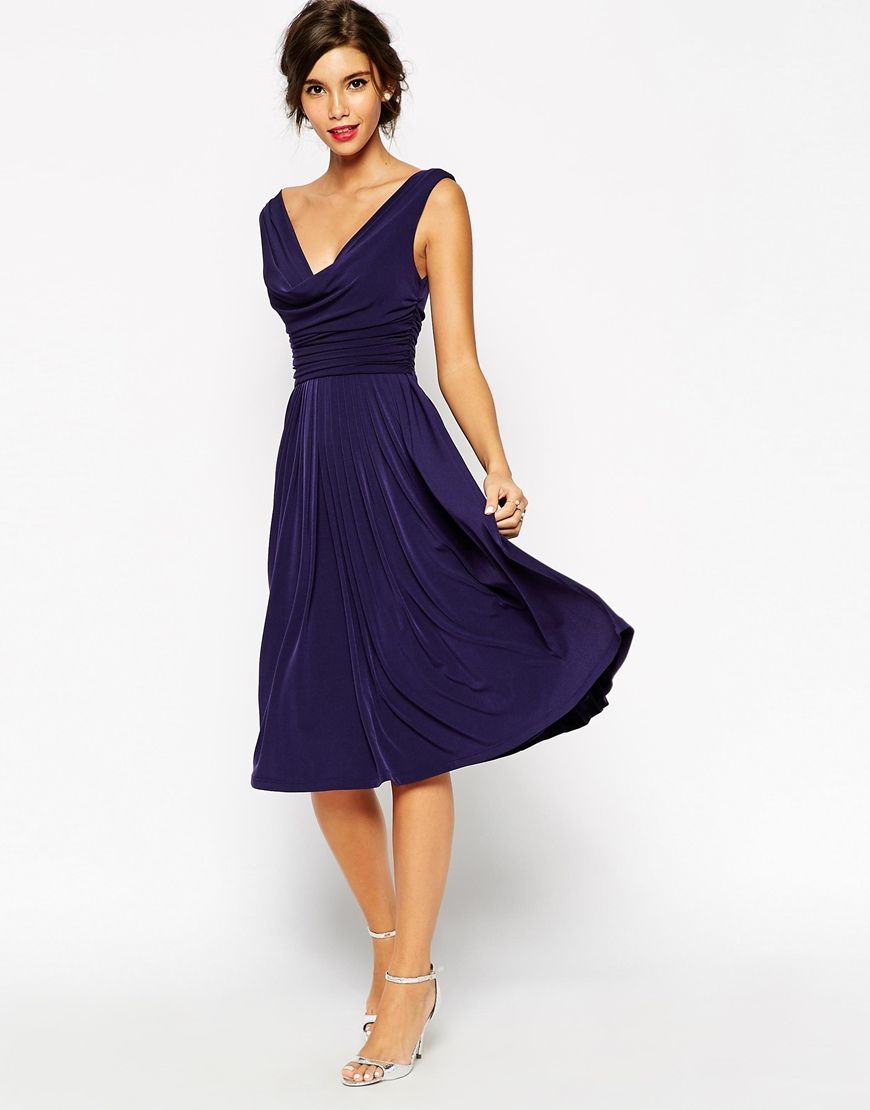 ASOS WEDDING Drape Cowl Neck Pleated Midi Dress