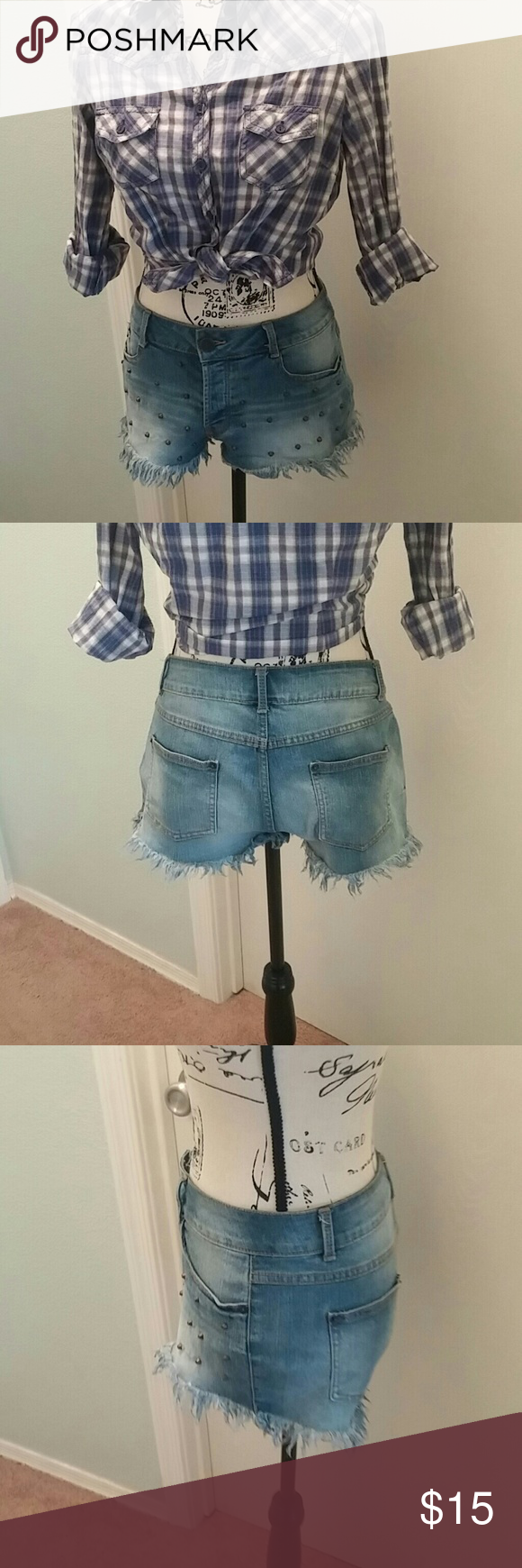 NOBO denim distressed button up shorts size 11 NOBO denim distressed button up shorts size 11 *Check out the stud details on the front* Waist: 32 Length: 9-10  #0202  RF No Boundaries Shorts Jean Shorts