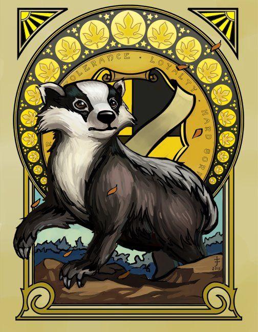 Art Nouveau Hufflepuff badger