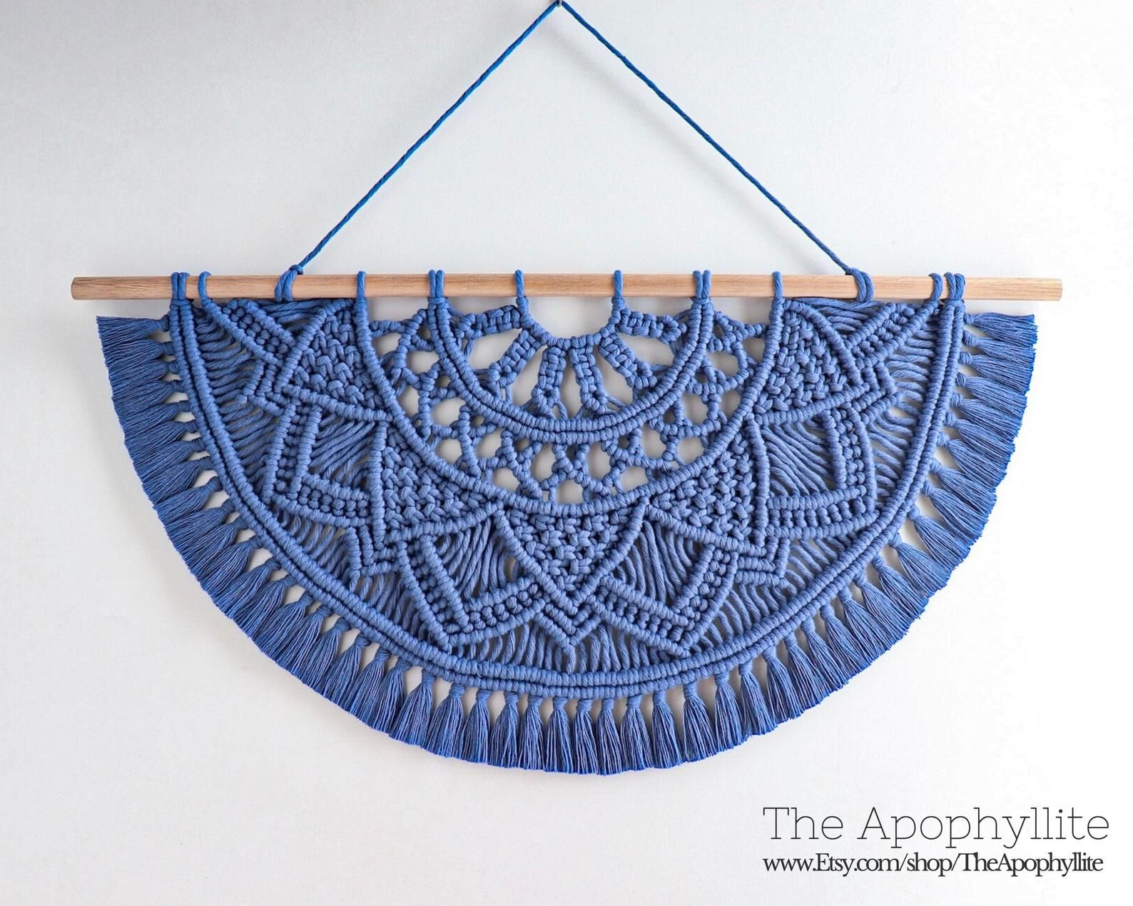 Macrame wall hanging, dark blue cotton Semi-circle half mandala design on oak wood dowel. Macrame tapestry, Living room entryway bedroom art