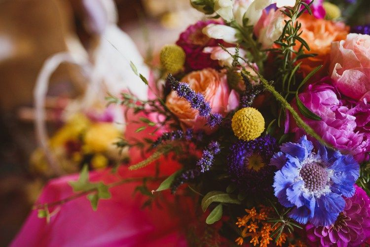 Colourful crafty botanical natural wedding whimsical
