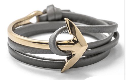 Gold Leather Anchor Men Halfbend Bracelet